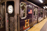 NY subway wrapped in advertising