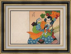 Hikifuda 引札 2 samurai 侍 front 表, sample framing