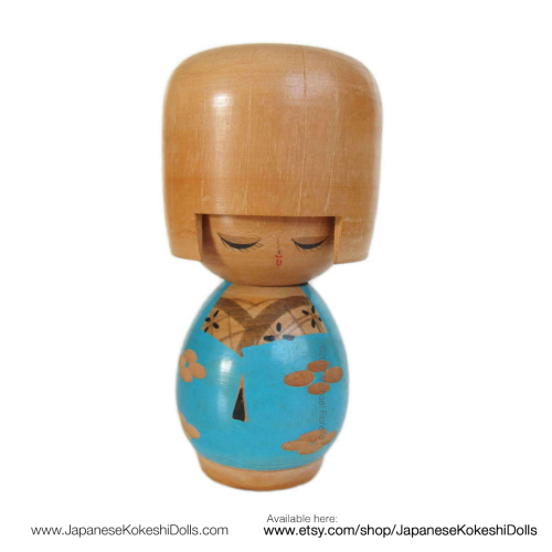 Vintage japanese kokeshi doll kawaii blue