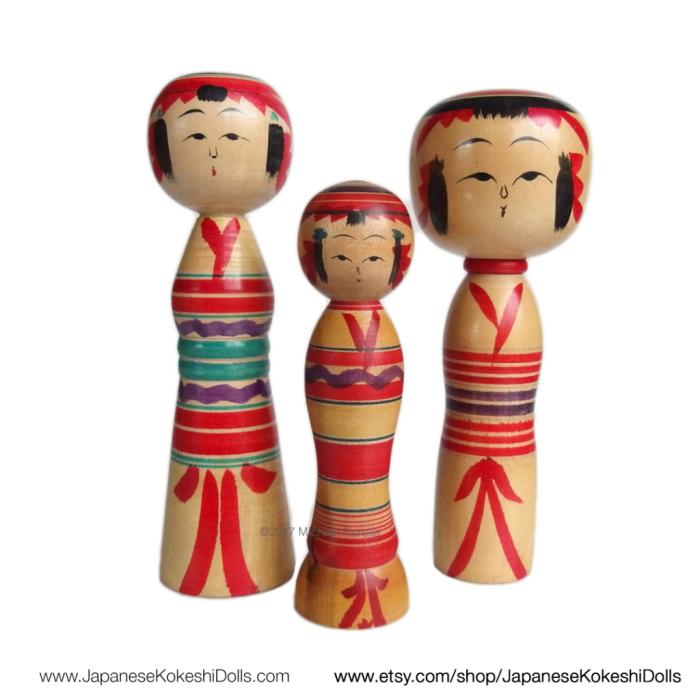 Traditional Kokeshi Dolls Yajiro Kokeshi by JapaneseKokeshiDolls.com